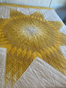 Vintage Queen Gold White Yellow Lone Star Handmade Quilt Signed Dated 1992