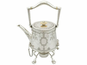 Antique Sterling Silver Spirit Kettle By Martin Hall Co Ltd Sheffield 1920s