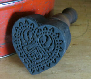 Beautifully Carved Primitive Wood Love Valentine S Heart Butter Mold Stamp Press