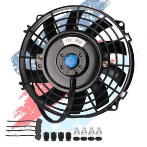 Universal 7 12 V Pull Push Racing Electric Slim Radiator Engine Cooling Fan