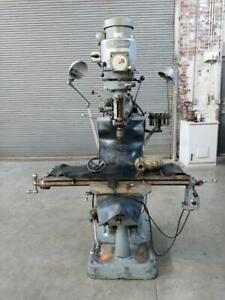Bridgeport Vertical Knee Milling Machine 9 X 42 Table W right Angle Att Collets