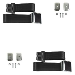 For Dodge Charger 68 70 2 Point Airplane Buckle Lap Bucket Seat Belts Black