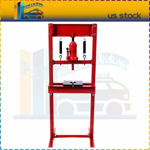 12 Ton H frame Press Plates Hydraulic Jack Stand Equipment Shop Press Floor Red