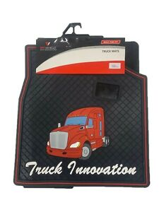 Kenworth T680 Floor Mats Set Pair Black And Red