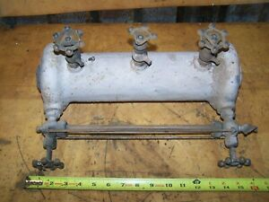 Large 16 Antique Cast Iron Steam Locomotive Boiler Water Site Glass W valves