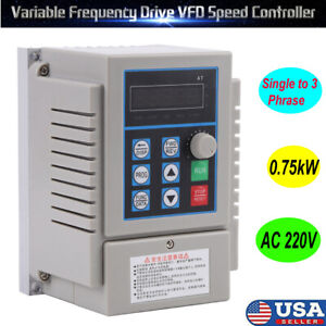 Universal Single To 3 Phase Output Frequency Converter Vfd Vsd 220v 0 75kw 1hp