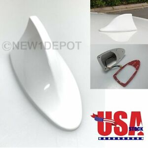 Us Universal White Shark Fin Roof Mount Fm Am Radio Signal Antenna For Honda