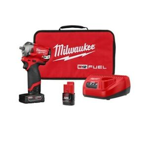 Milwaukee Electric Tools 2554 22 M12 Fuel Stubby 3 8in Impact Wrench Kit