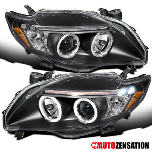 For 2009 2010 Toyota Corolla Black Halo Rims Projector Headlights Lamps W Led