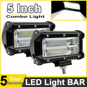 Cree 5inch 1320w Led Work Light Bars Flood Pods Driving Offroad For Jeep Tractor
