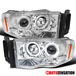 For 2003 2005 Dodge Ram 2500 3500 Clear Halo Rims Projector Headlights Lamps