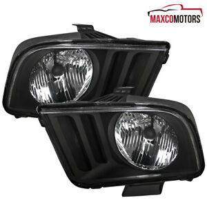For 2005 2009 Ford Mustang Gt Black Headlights Front Driving Lamps Replacement