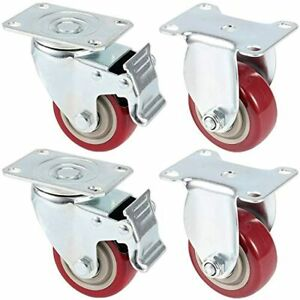 4 Pack 3 Inches Fixed Caster Wheels Heavy Duty Rubber With Brakes For Carts 2