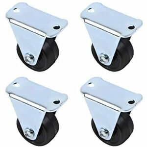 Auear Rubber Caster Wheels Heavy Duty Fixed Casters With Rigid Non swivel Base