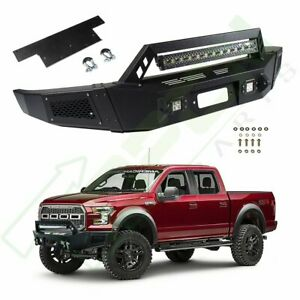 Heavy Duty Steel Front Bumper Winch Plate W Led Light For 09 14 Ford F150 F 150