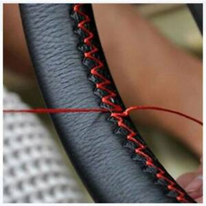 38cm Black red Leather Diy Car Steering Wheel Cover With Needles And Thread