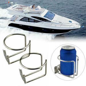 2 Pack Stainless Steel Car Boat Ring Cups Drink Holder For Marine Yacht Truck Rv