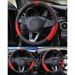 Black And Red Steering Wheel Cover 1pc Protector 15 Inch Accessories New