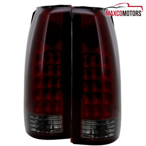Red Smoke For 1988 1998 Chevy Pickup C10 1500 2500 Gmc Sierra Led Tail Lights