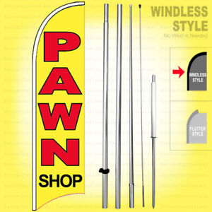 Pawn Shop Windless Swooper Flag Kit 15 Feather Banner Sign Yb h