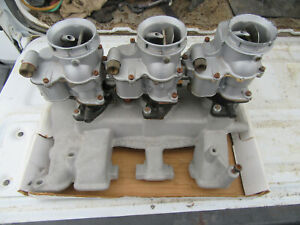 Vintage Offenhauser Intake Manifold And Carbs Ford Y Block 272 292 312