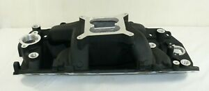 Chevy Big Block Bbc Dual Plane Air Gap Intake Manifold Black 1500 6500 Rpm