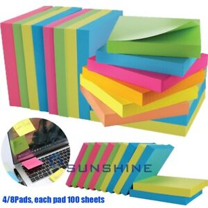 4 Pads 100 Sheets Self Sticky Notes Pop Up Memo Reminder Neon Assorted Colors