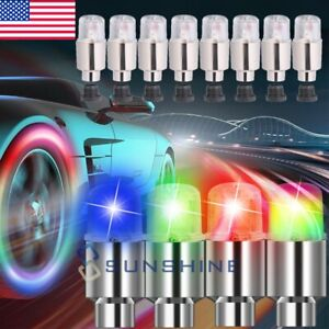 8 16x Led Wheels Tire Air Valve Stem Caps Colorful Neon Light For Car Motor Bike