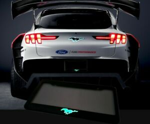 Glowing Mustang Mach E Style License Plate Frame Tag Cover Phantom Black Ford