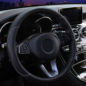 Car Accessories Steering Wheel Cover Black Leather Anti Slip 15 38cm Universal