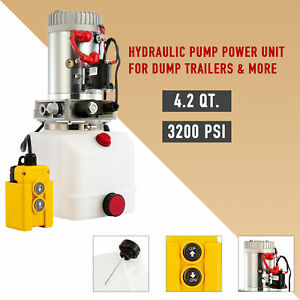 12v Single acting Hydraulic Pump 4 Liter Cap For Wood Splitter Dump Bed Tow Plow