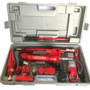 New 4 Ton Power Hydraulic Jack Body Frame Repair Kit Auto Shop Tool Lift Ram Red