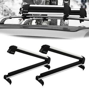 2 Pcs Universal Aluminum Ski Snowboard Roof Rack Carriers For Skis Or Snowboards