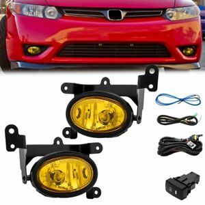 For 2006 2008 Honda Civic 2dr Coupe Yellow Bumper Fog Lights Pair switch Kit