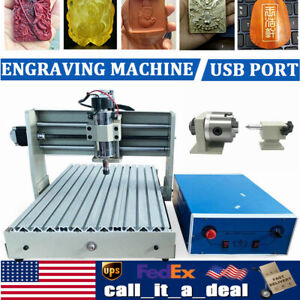 4 Axis 3040 Cnc Router Engraver Usb 400w Milling Drilling 3d Cutter Machine 110v
