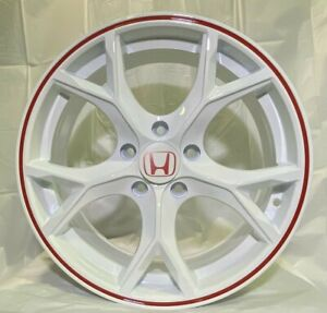 17 White Red Lip Wheels Type R Style Fits Honda Civic Si Exl Accord Sport W313