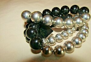 Cookie Lee Set of 3 Silver and Black Beaded Stretch Bracelet NWT $9.99