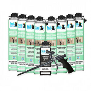 Seal Spray Closed Cell Insulating Foam Can Kit W gun Applicator cleaner 200 Bf