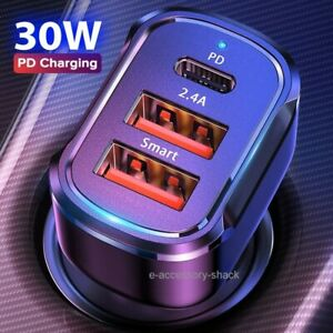 Dual USB PD Type C Car Charger 30W Fast Charge Adapter For iPhone 12 11 Pro Max $8.91