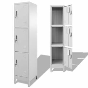 New Locker Cabinet W 3 Compartments Wardrobe Office Gym Storage Organizer