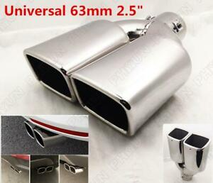1pc Chrome 2 5 Inlet Car Exhaust Muffler Tip Dual Square Tail Pipe Stainless Us