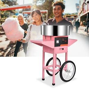 21 Electric Commercial Cotton Candy Machine Floss Maker Pink Cart Stand Diy