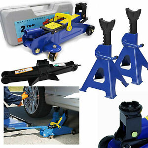 2 3t Low Profile Floor Jack Stand Combo Car Truck Lift Shop Hydraulic Trolley Us