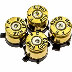 PS4 Bullet Buttons Gold Silver Made Using Real Once Fired 9MM Bullet Casings D $17.99