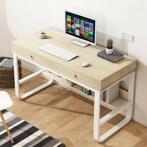 Wood Computer Desk With Drawer Shelf Pc Laptop Office Table Home Small Desk Wh