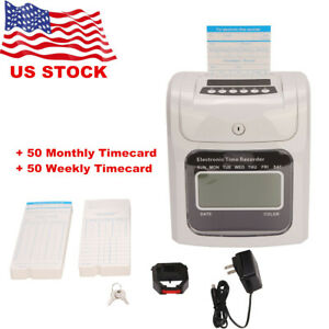 Punch Time Clock Machine With 100 Time Cards Attendance Check In Time Stamp
