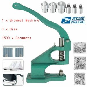 Usa Grommet Eyelet Hole Punch Machine Hand Press Tool 3 Dies 1500 Grommets