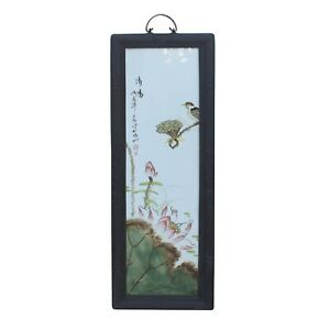 Vintage Chinese Wood Frame Porcelain Flower Birds Wall Plaque Panel Ws1204
