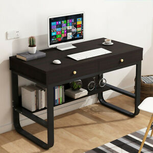 Wood Computer Desk With Drawers Shelf Pc Laptop Office Table Home Small Desks Bk