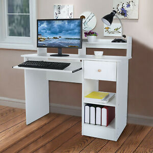Wood Computer Desk With Drawers Shelf Pc Laptop Office Table Home Small Desks Wh